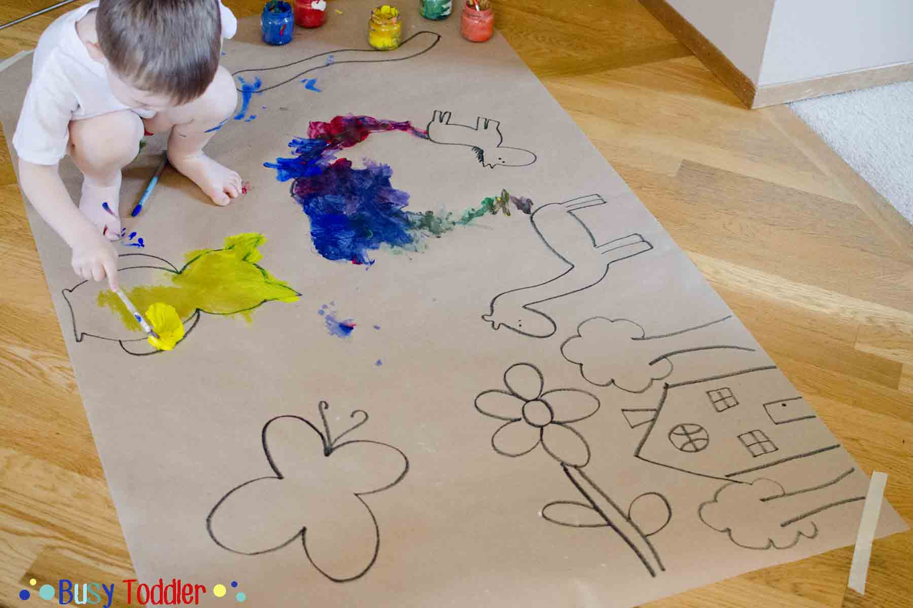 GIANT PAINTING: An east toddler activity.  Create a DIY coloring page for your child to paint - they'll love it!