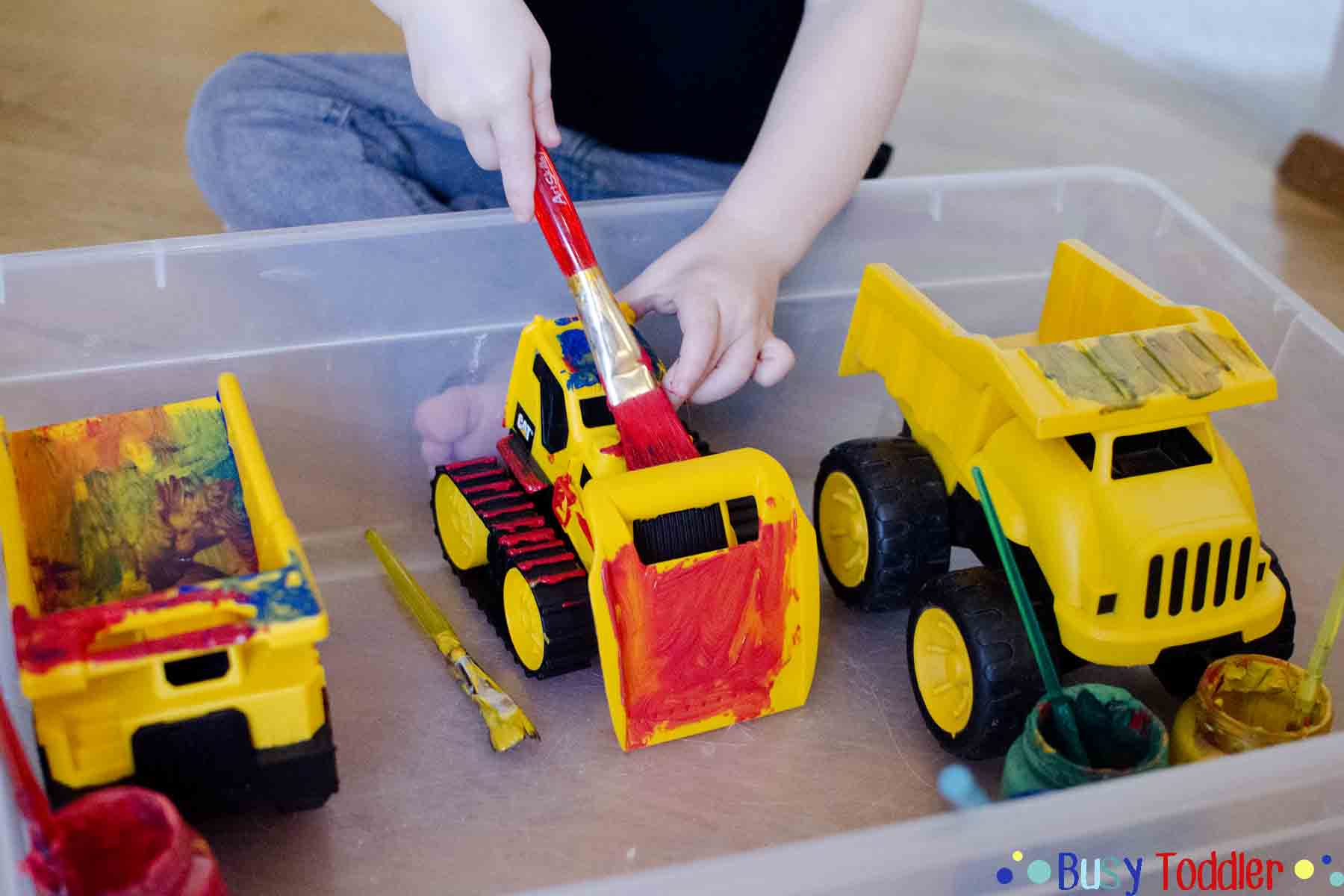 PAINTING TOYS: A Toddler Process Art activity that's perfect for little learners