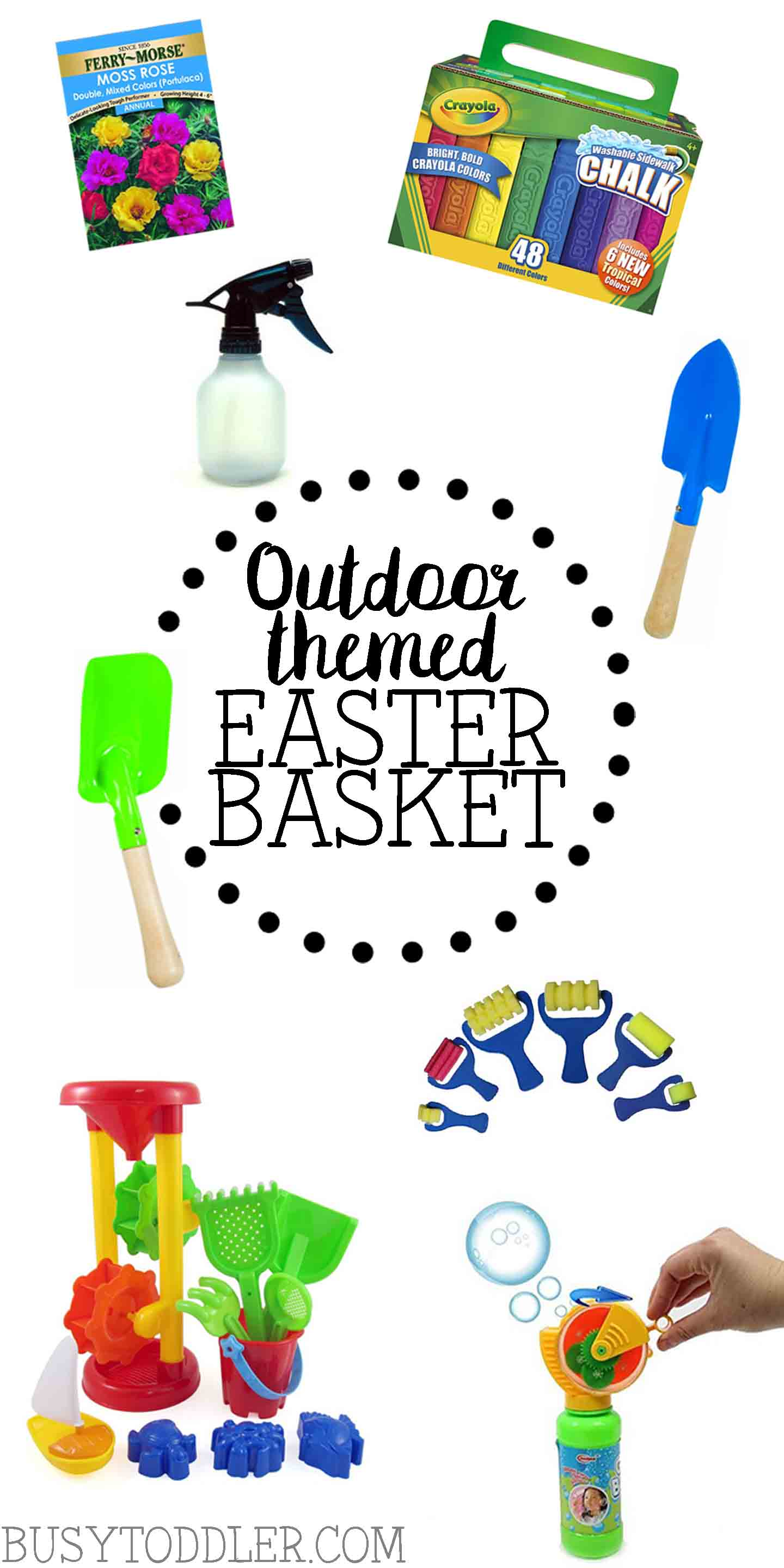 OUTDOOR THEMED EASTER BASKET: Build a great Easter basket full of supplies for outdoor activities for kids. Toddler and preschoolers will love this simple Easter basket.