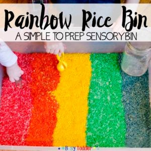 RAINBOW RICE SENSORY BIN: Create a simple rice sensory bin using food coloring; an easy toddler activity dying grains of rice