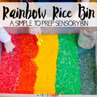 Rainbow Rice Sensory Bin