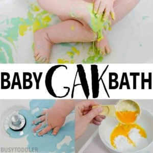 BABY GAK BATH: A quick baby activity that you can set up in seconds. Entertain baby with this simple sensory activity that's taste safe. Baby will love playing with Ooblek / Gak / Gloop.