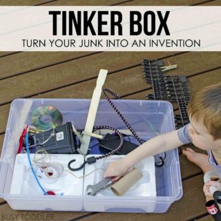 TINKER BOX: A quick and easy activity to entertain your toddler or preschooler; a quick activity; STEM for toddlers; STEM for preschoolers
