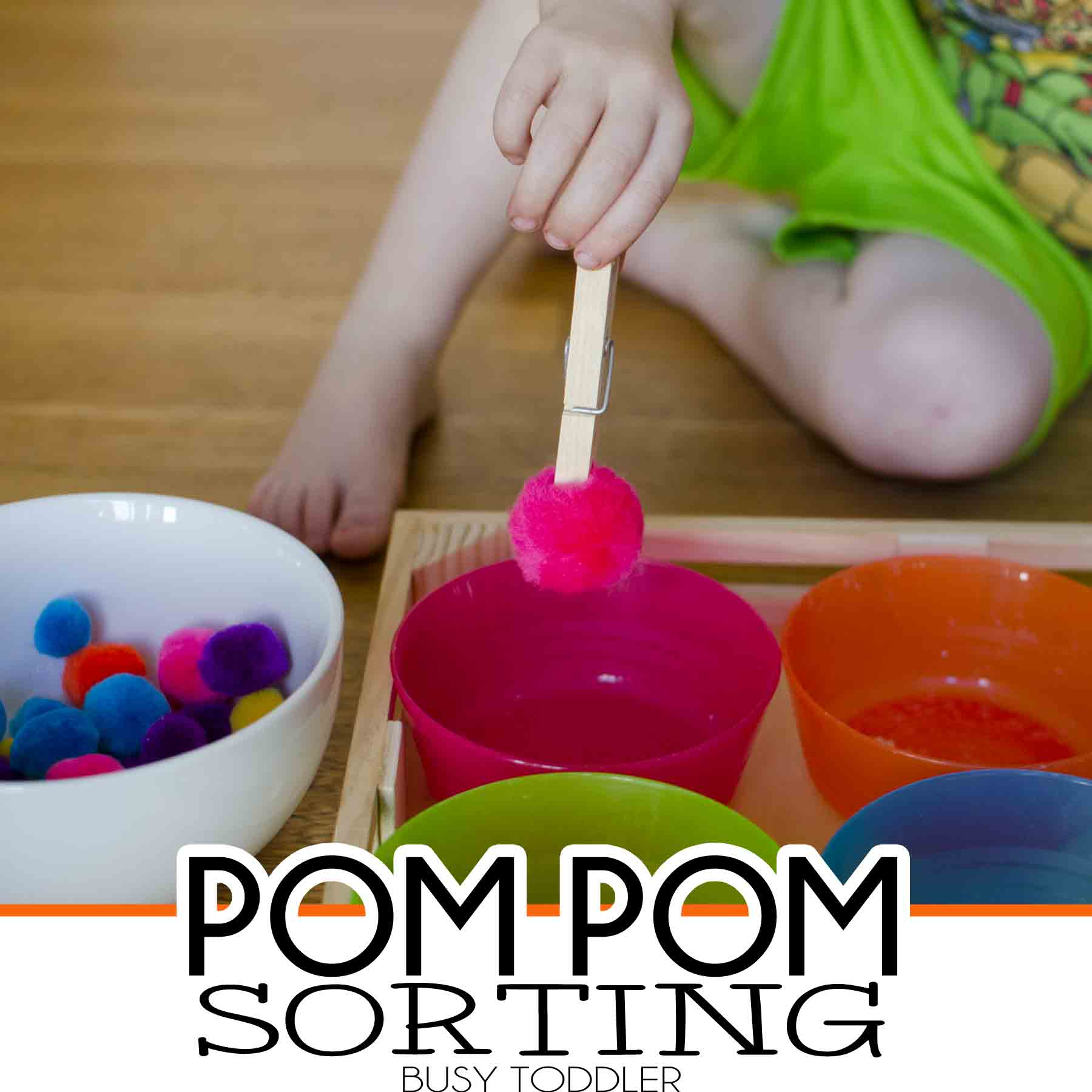 Pom pom sorting a simple toddler activity fine motor skills for toddlers and preschoolers