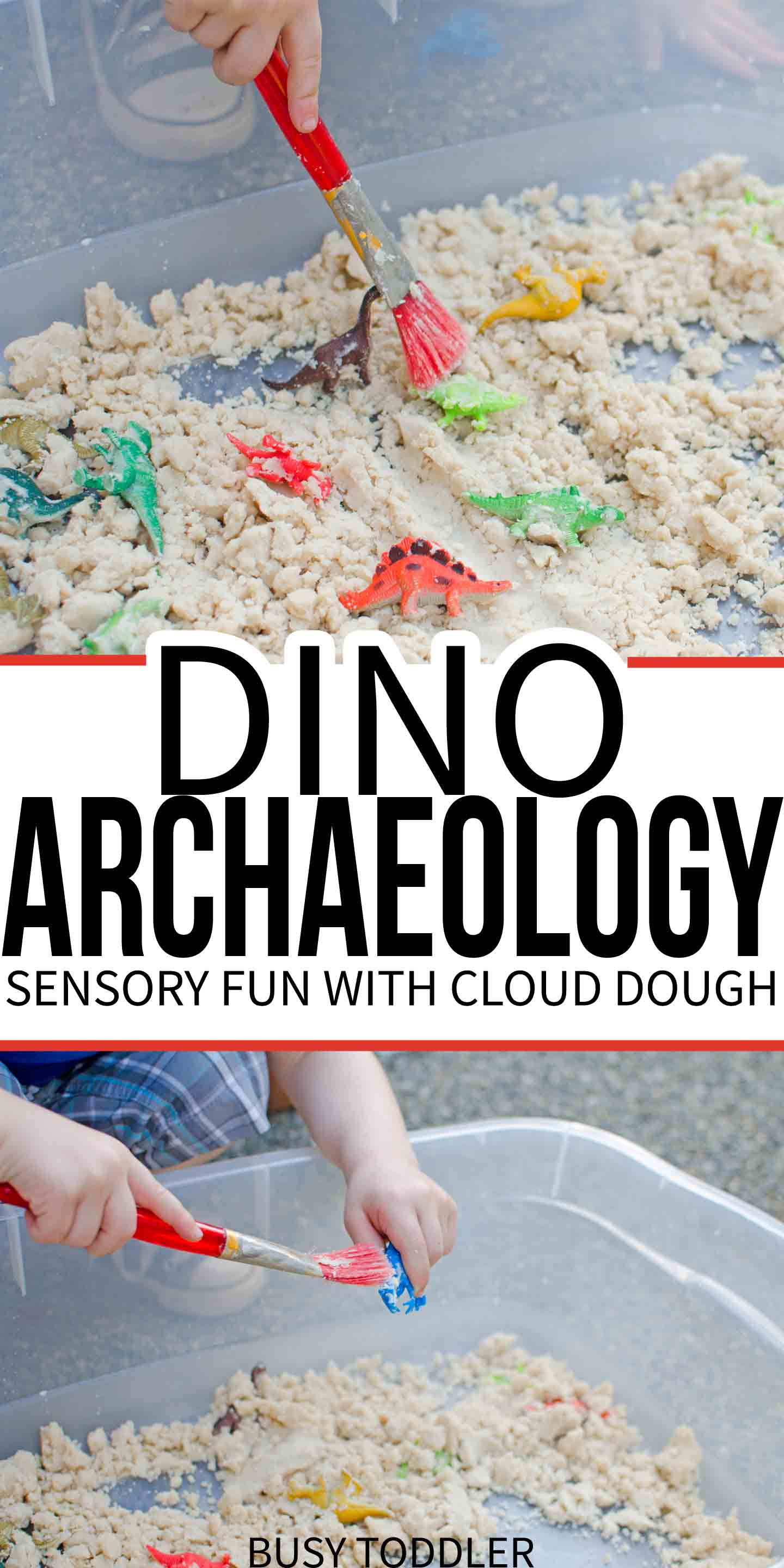 DINOSAUR ARCHAEOLOGY: A fun sensory activity with cloud dough; an easy activity for toddlers and preschoolers; simple sensory play