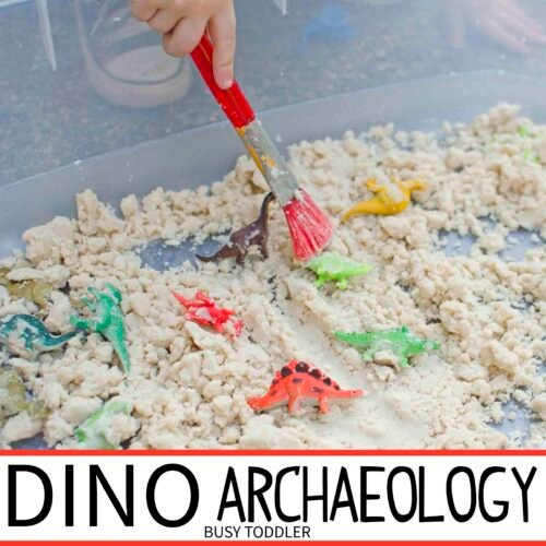 DINO ARCHAEOLOGY: A fun sensory activity with cloud dough; an easy activity for toddlers and preschoolers; simple sensory play