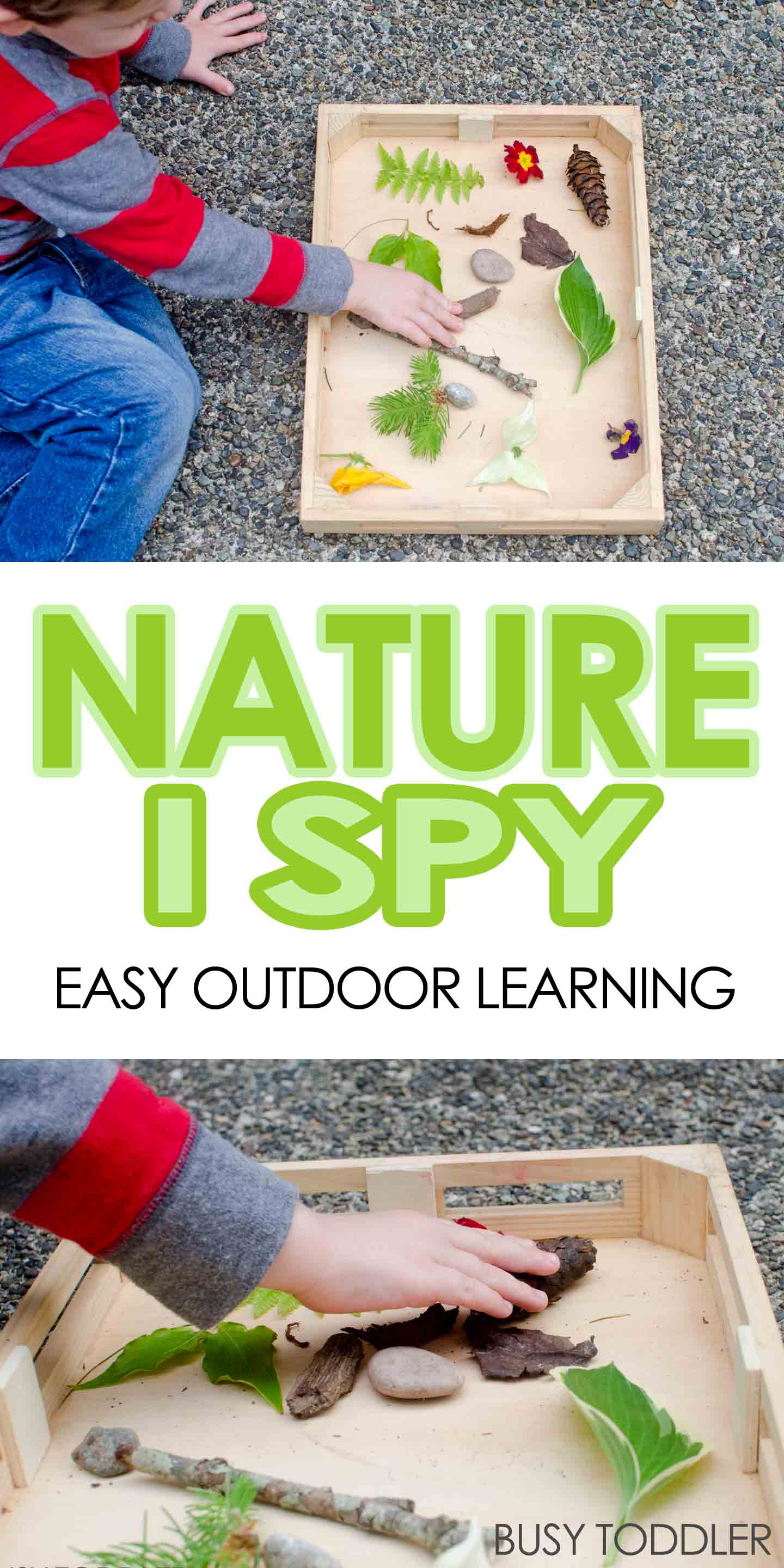 NATURE I-SPY: A fun outdoor learning activity for toddlers and preschoolers; an easy outdoor activity