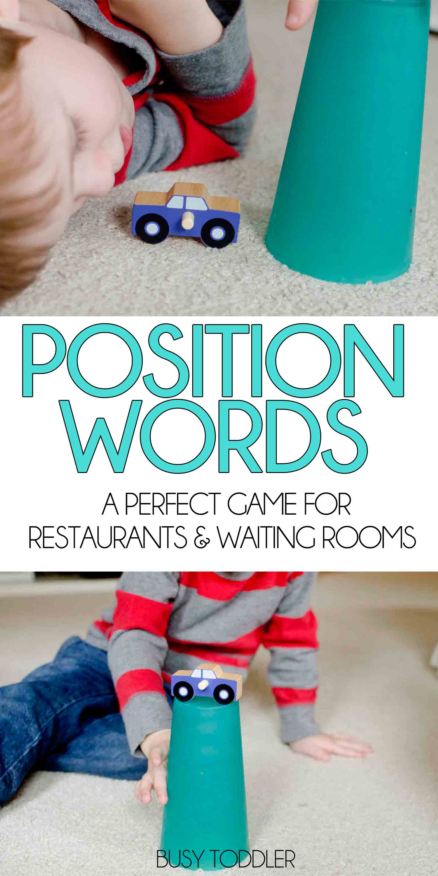 "PRACTICE POSITION WORDS: A fun way to pass the time in restaurants and waiting rooms playing ""Over Under"". Practice math vocabulary words and direction following."