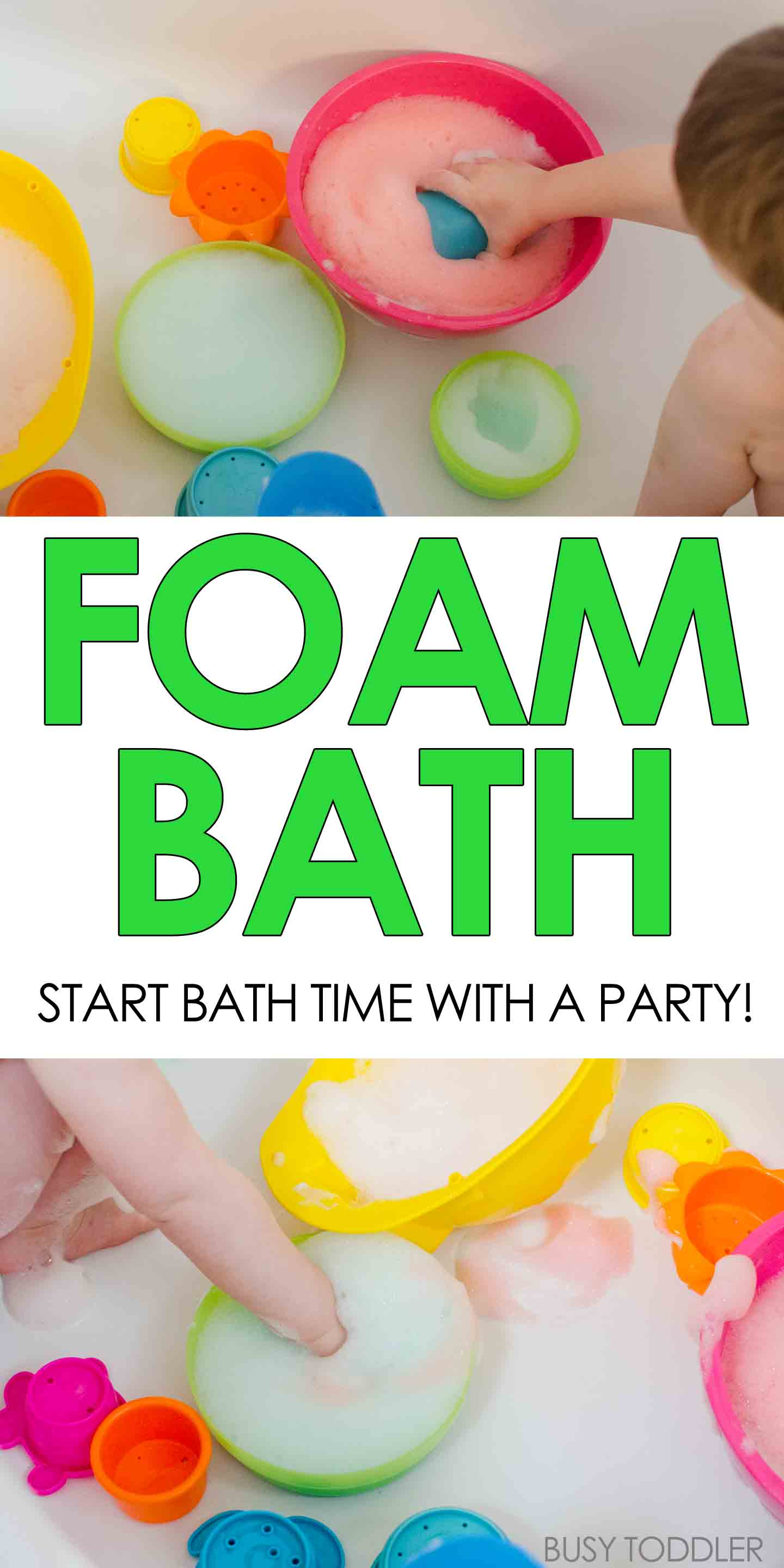 FOAM BATH: Have fun in the tub with this easy activity; make bubble foam to play with at bath time