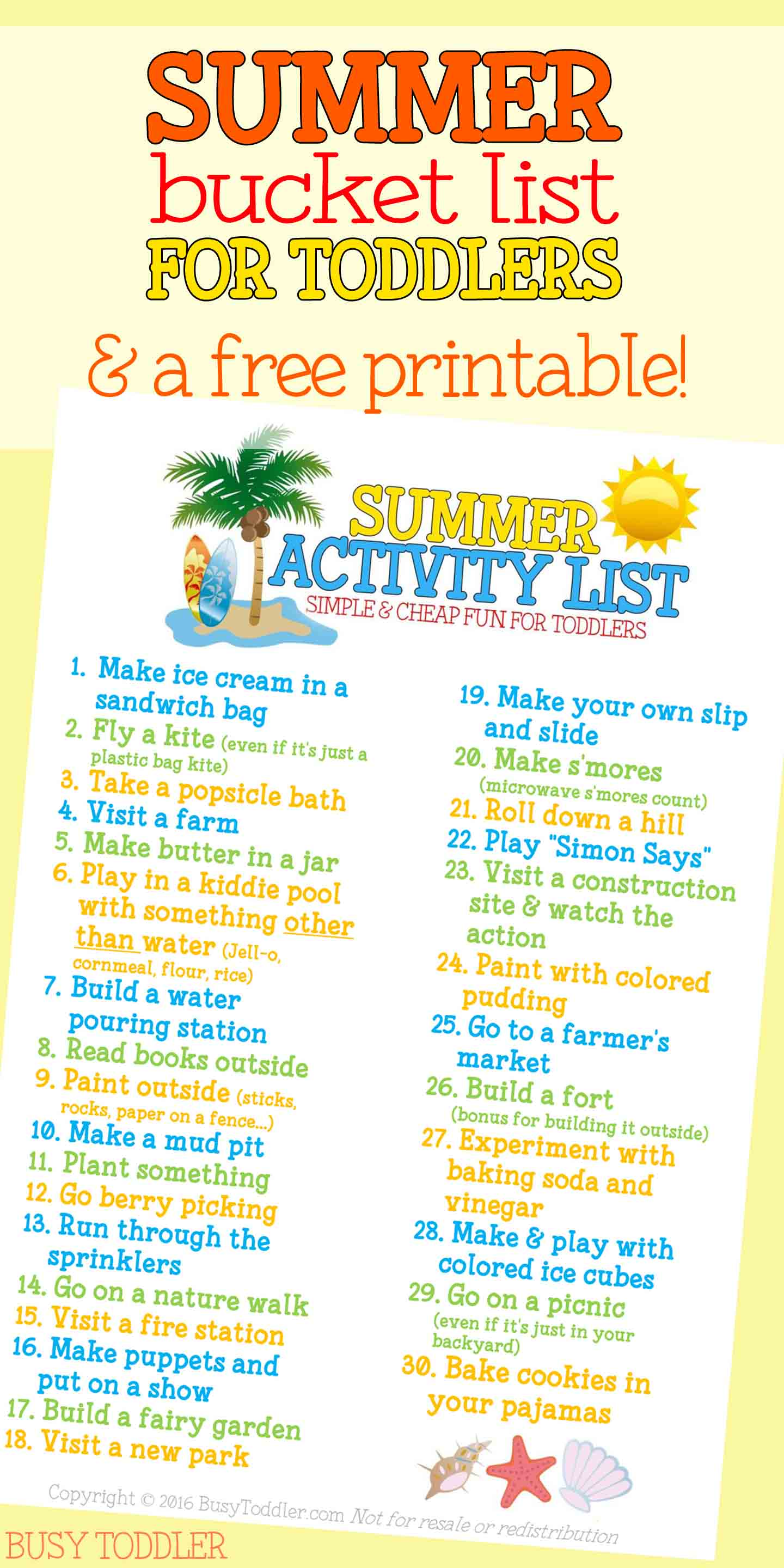 SUMMER ACTIVITY LIST FOR TODDLERS: Simple, cheap and easy ideas for parents to do with their toddlers this summer; terrific ideas for summer play with toddlers; great ways to make it to nap time with tots
