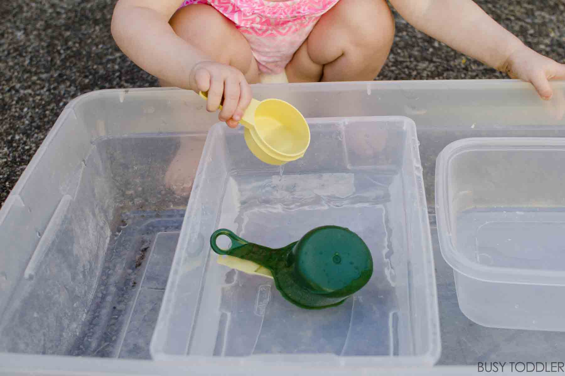 LEARN TO SCOOP: A fun life skills activity for young toddlers; water activity with young toddlers; fun outdoor activity