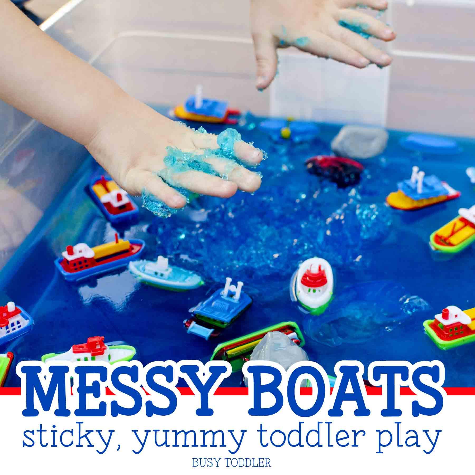 Messy Boats: a sticky, yummy toddler activity; easy sensory activity; fun summer activity for toddlers