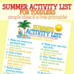 Summer Activity List for Toddlers