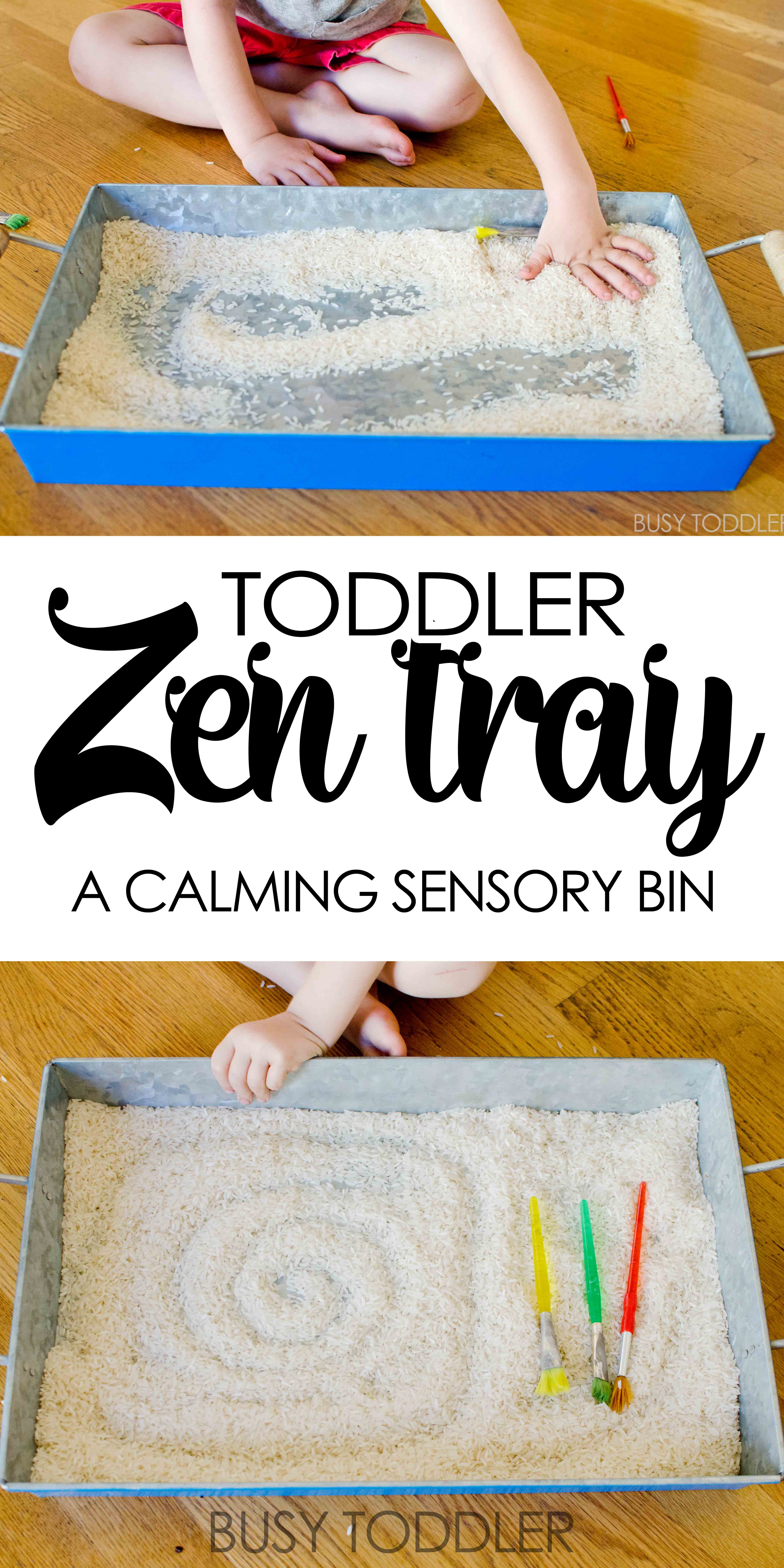 Toddler Zen Tray: Create a calming sensory experience with this easy activity; perfect indoor activity for toddlers and preschoolers