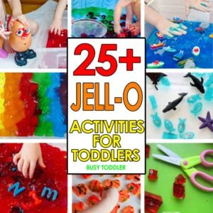 JELL-O ACTIVITIES FOR TODDLERS: Have some sensory fun with these amazing Jell-O activities for toddlers and preschoolers; messy sensory fun with these easy indoor and outdoor activities; quick and easy fun