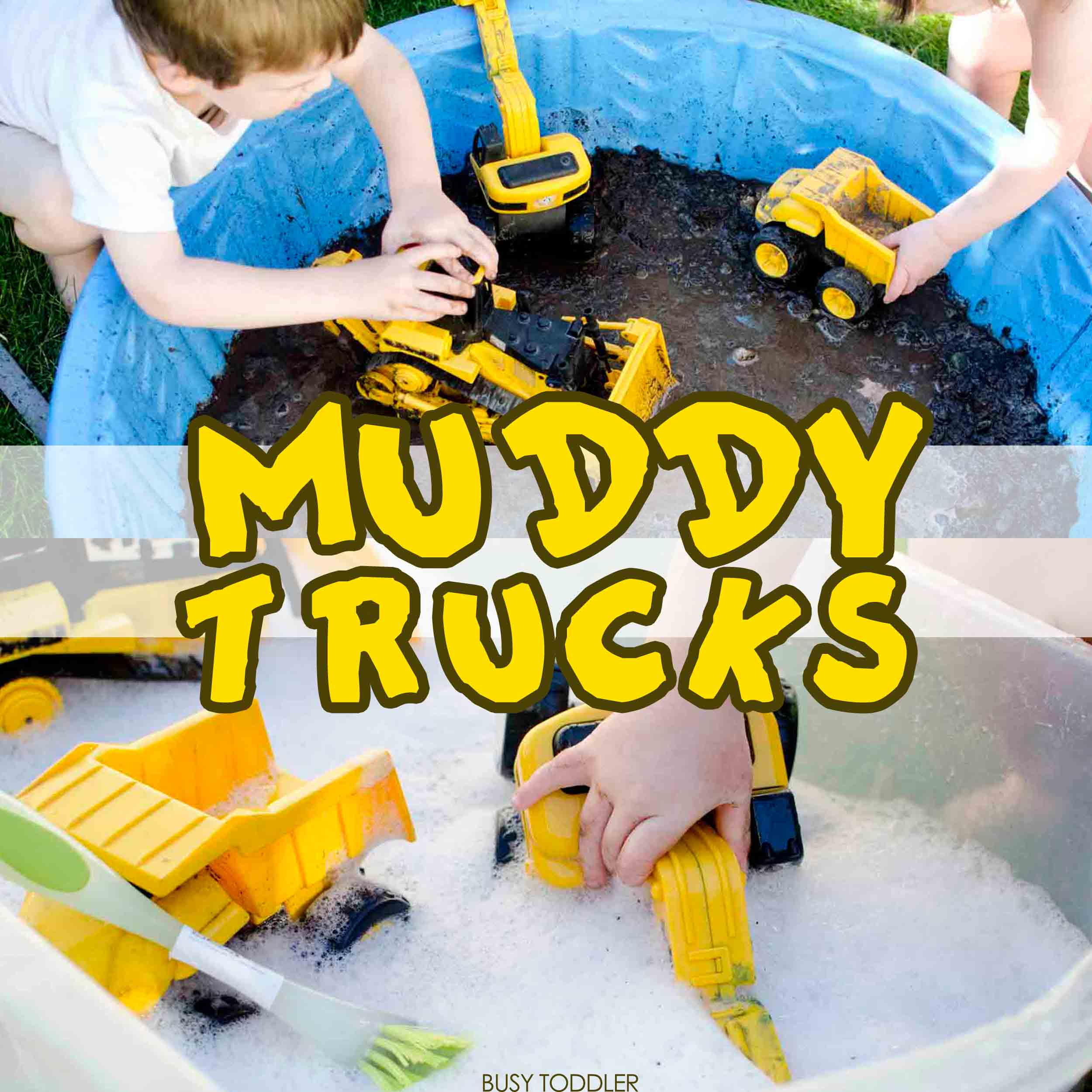 MUDDY TRUCKS: Made a mud pit for your toddlers! A fun outdoor activity that kids will love getting messy with. Fun summer activity. Easy toddler activity.