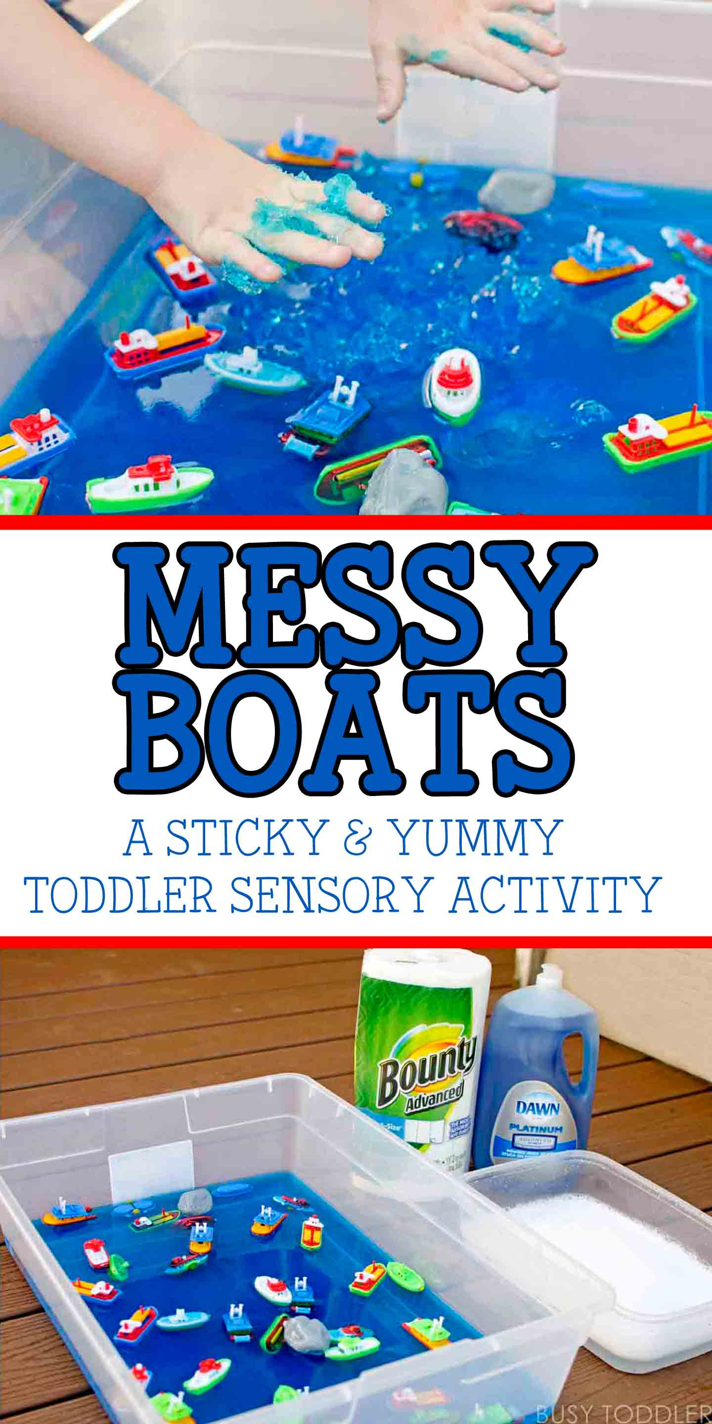 Messy Boats: a sticky, yummy toddler activity with easy clean up thanks to P&G products from Costco.