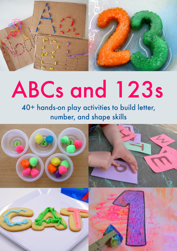 ABCs and 123s: 40+ play based activities for ages 2-18. Great indoor and outdoor activities for kids!