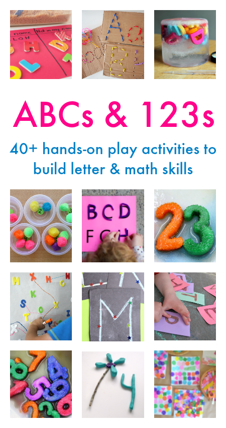 ABCs and 123s: 40+ amazing letter and number activities for kids! This great book is full of play based learning ideas perfect for home, classroom, and outside fun.
