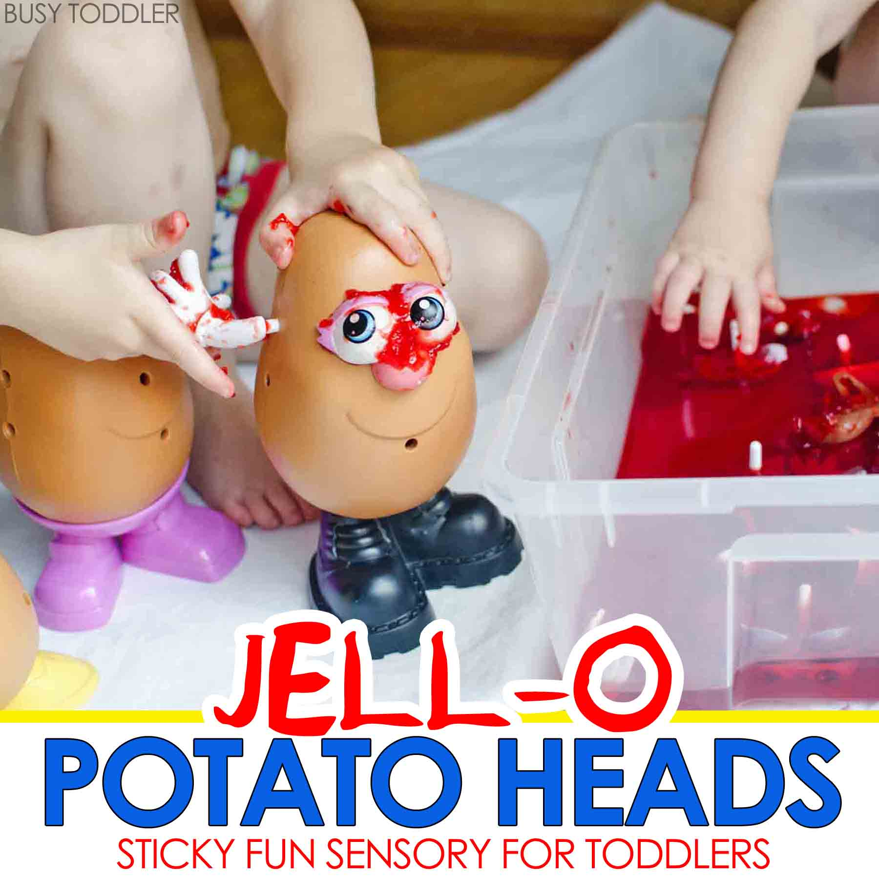 JELL-O POTATO HEAD: A silly fun sensory activity for toddlers and preschoolers; everyone will love this fun sensory activity;