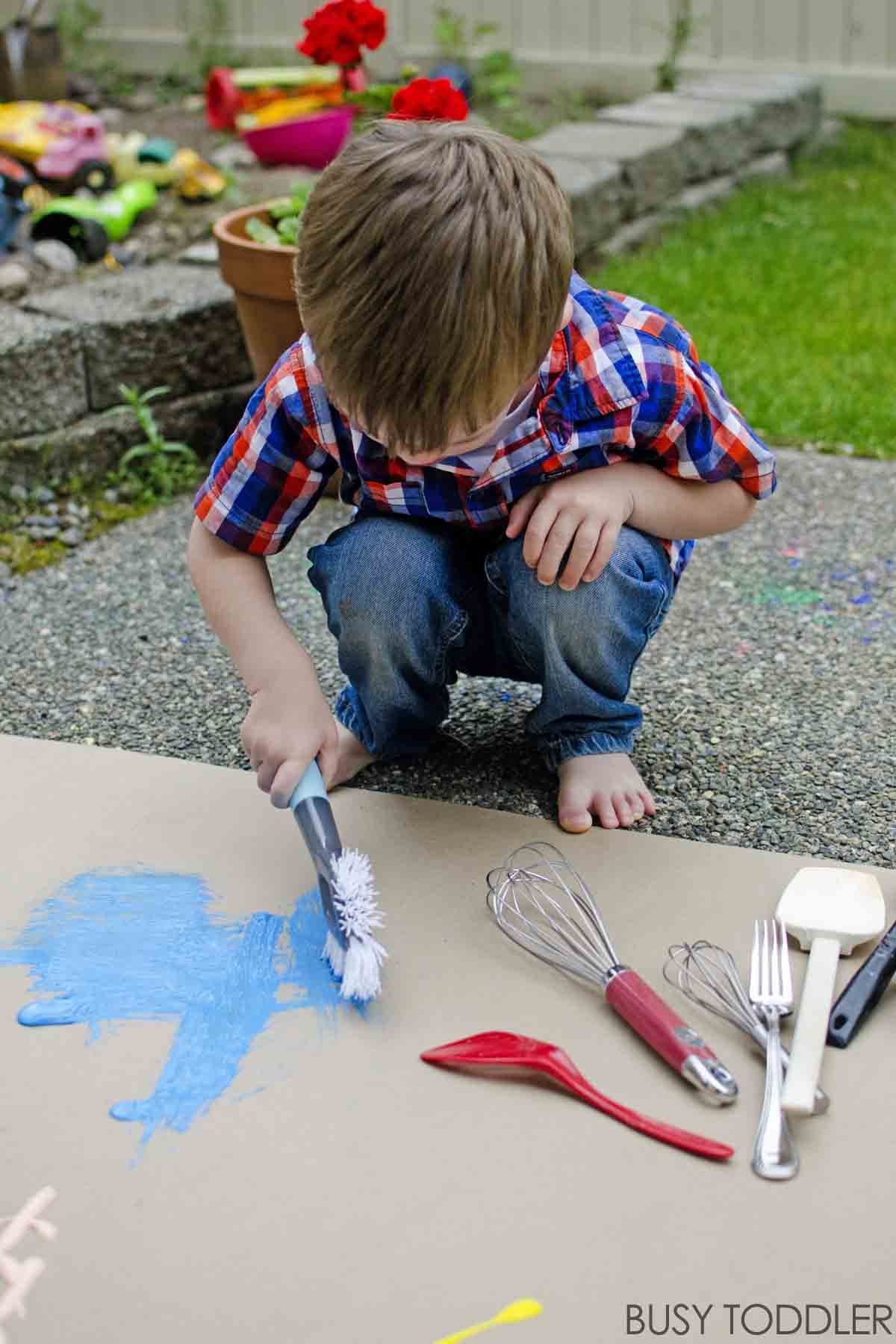 Kitchen Tools as Paint Brushes Busy Toddler
