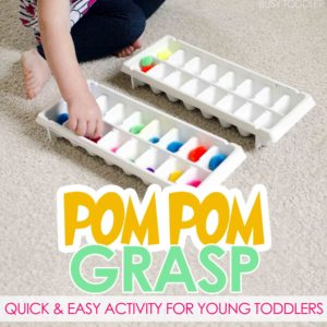 POM POM GRASP: A quick and easy toddler activity; great first transfer activity for young toddlers; fun indoor activity