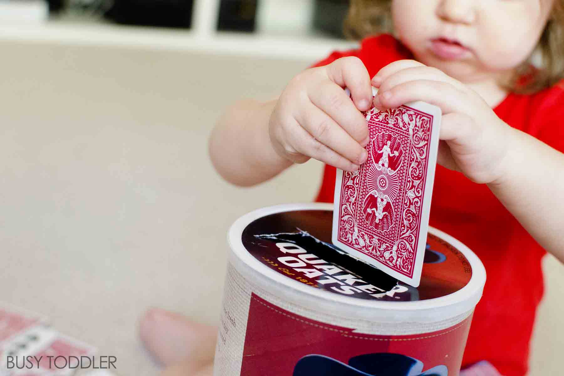 CARD SLOT DROP: A quick and easy toddler activity; fine motor skills activity for toddlers; quick indoor activity;