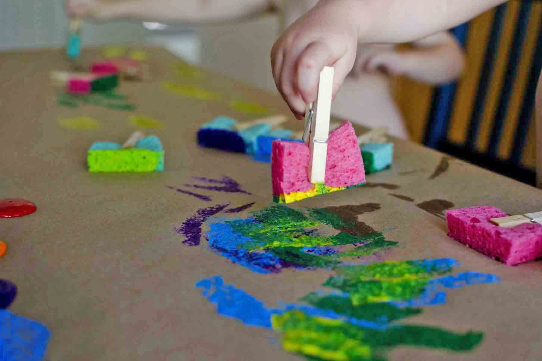 Sponge Painting Process Art Busy Toddler