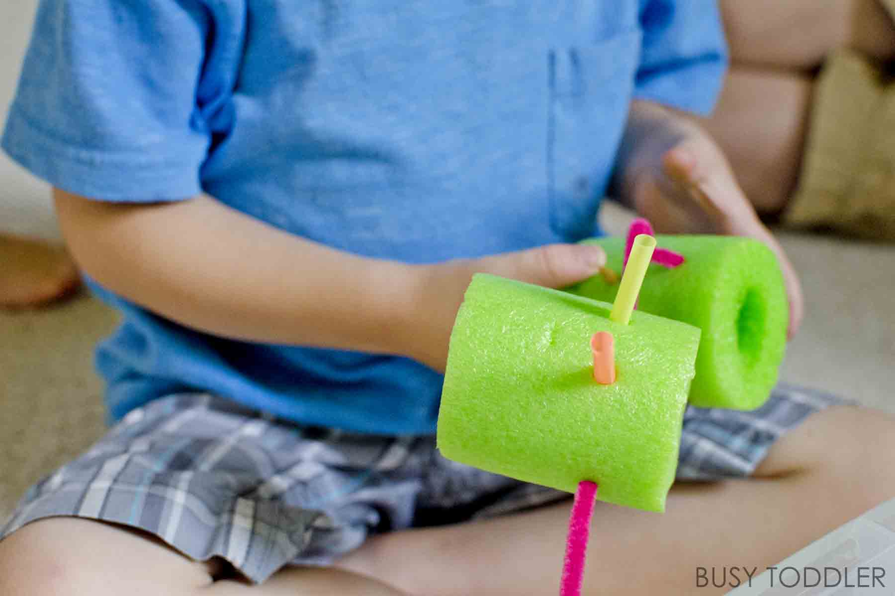POKING BIN: A quick and easy fine motor skills activity for toddlers; great indoor activity for toddlers; an awesome way to use pool noodles after summer is over