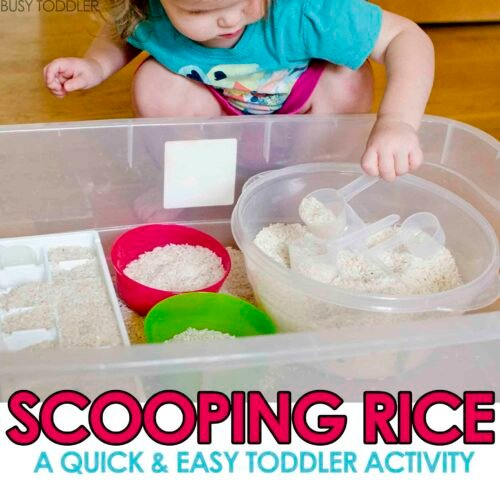 SCOOPING RICE SENSORY BIN: A great practical life skills activity for young toddler; easy indoor activity for toddlers; sensory bins for toddlers