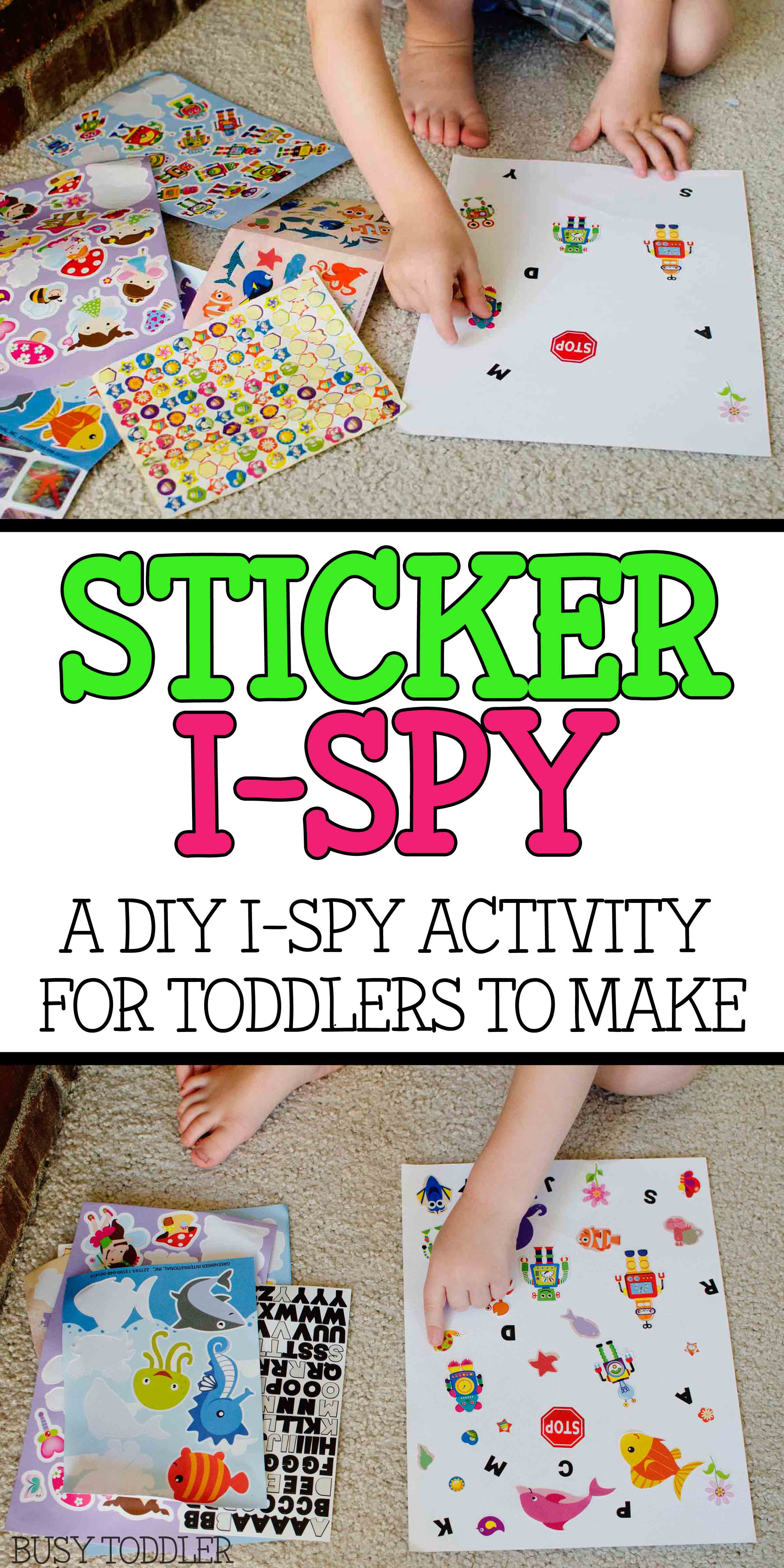 STICKER I-SPY: A simple DIY I-Spy activity that toddlers can make on their own; toddlers and preschoolers will love this easy indoor activity; a fun activity; quick and easy toddler activity