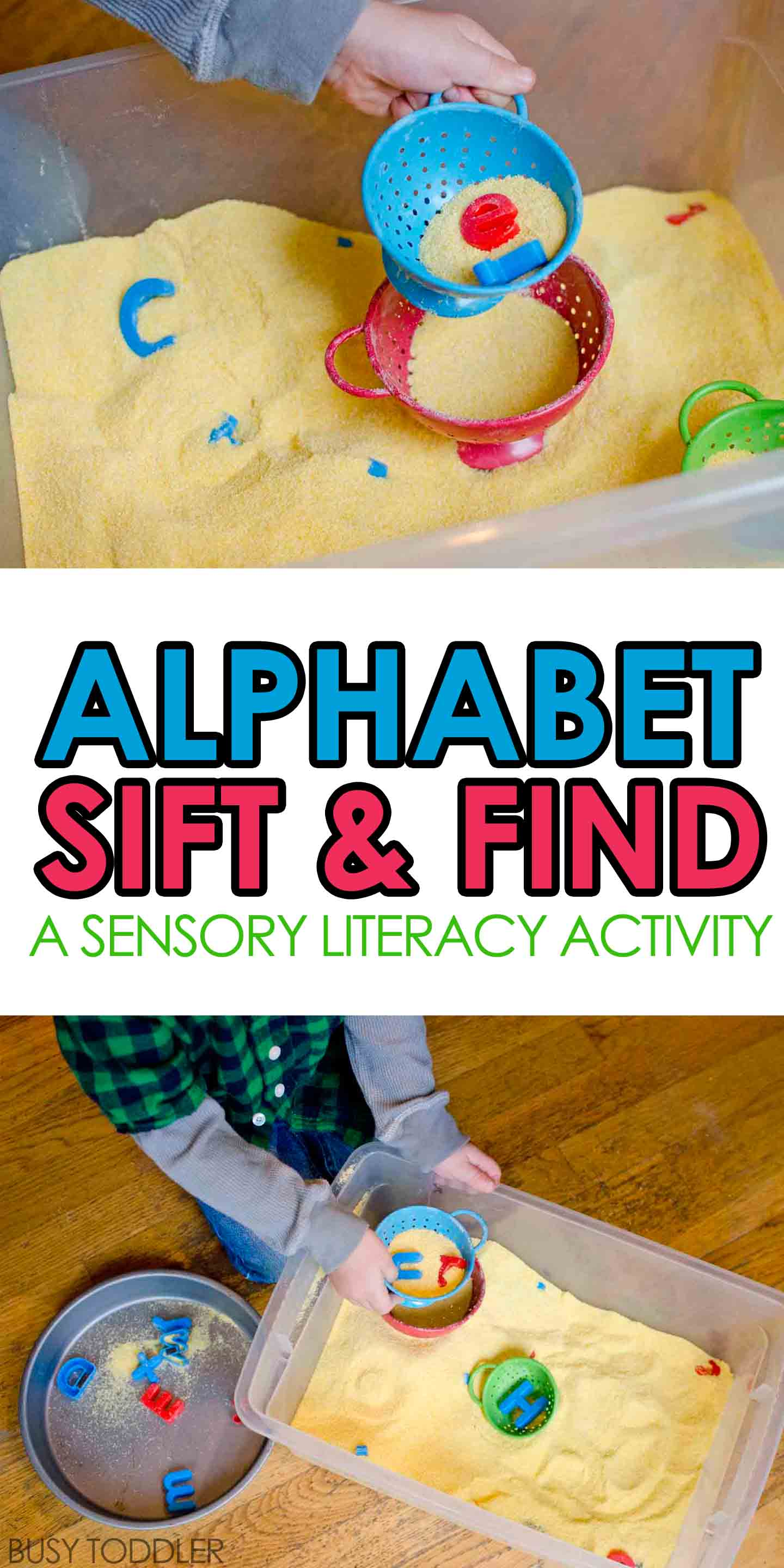 What a fun toddler activity! Alphabet sift and find is the perfect combination of literacy and sensory fun for toddlers and preschoolers. They will love playing this quick and easy indoor activity!