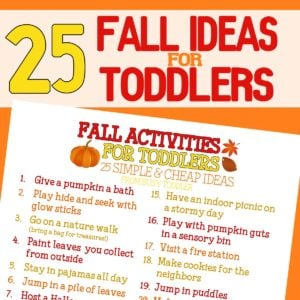 Check out this awesome fall bucket list for toddlers! 25 great activities for toddlers during the fall. Indoor and outdoor activities for toddlers in the fall.
