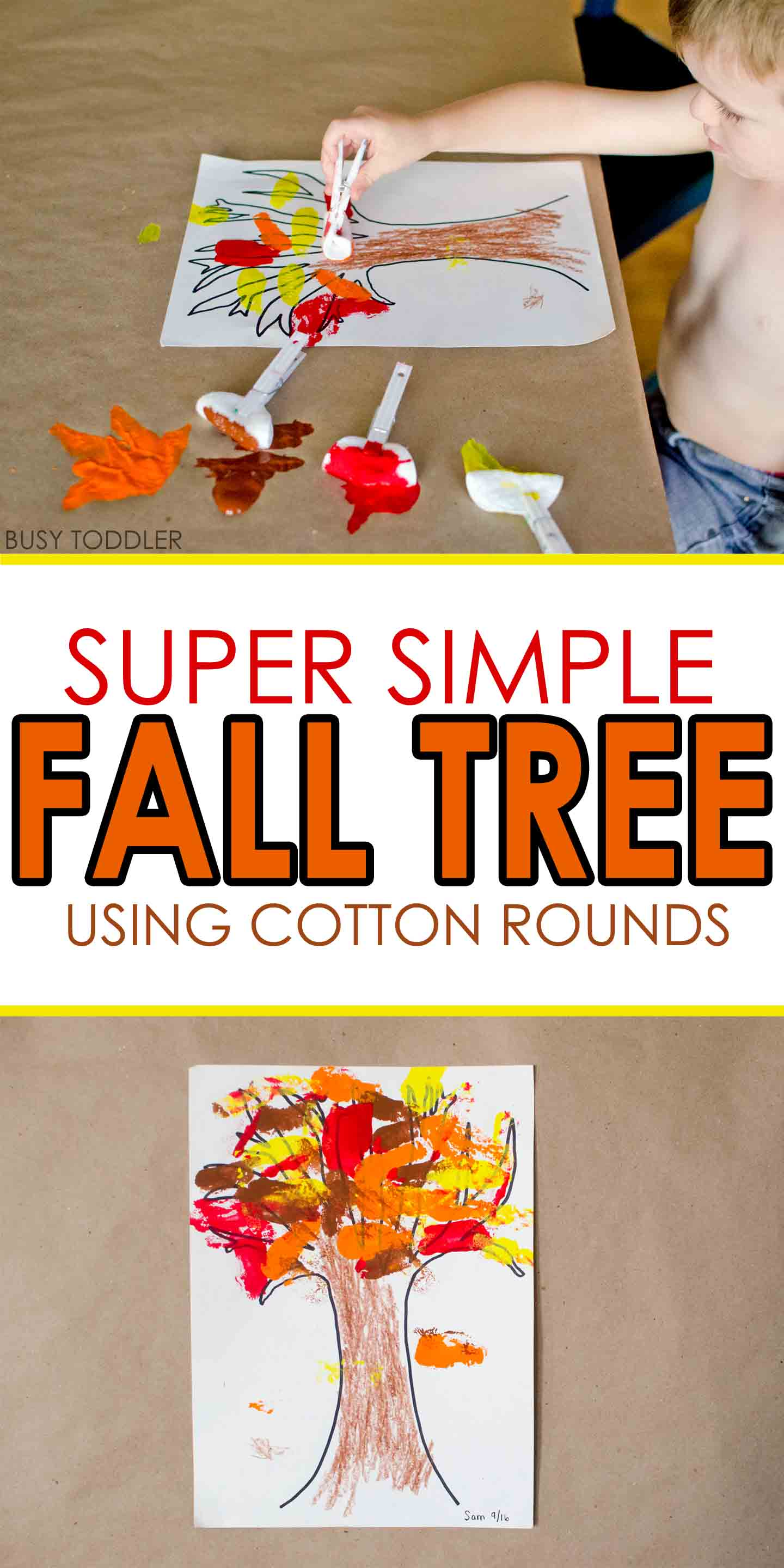 Simple Fall Wreath: Simple Fall Tree With Cotton Rounds
