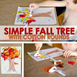 SIMPLE FALL TREE: Create an easy toddler fall art project using cotton rounds; quick art activity for toddlers; fall art project; indoor toddler activity