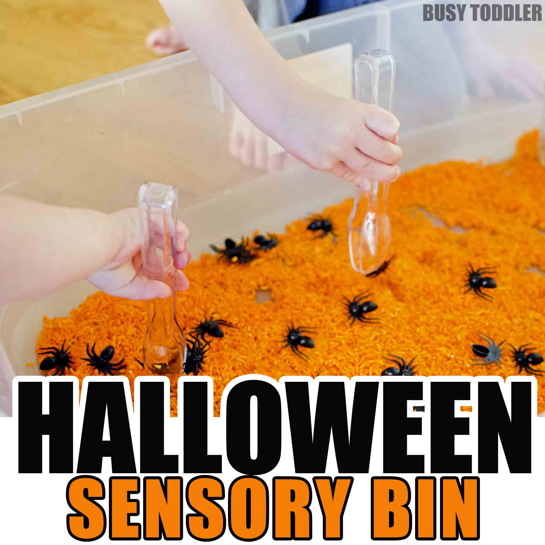 Check out this simple Halloween sensory bin! Toddlers will love this quick and easy indoor activity that is so fast to set up. A great simple activity that's perfect for toddlers and preschoolers.