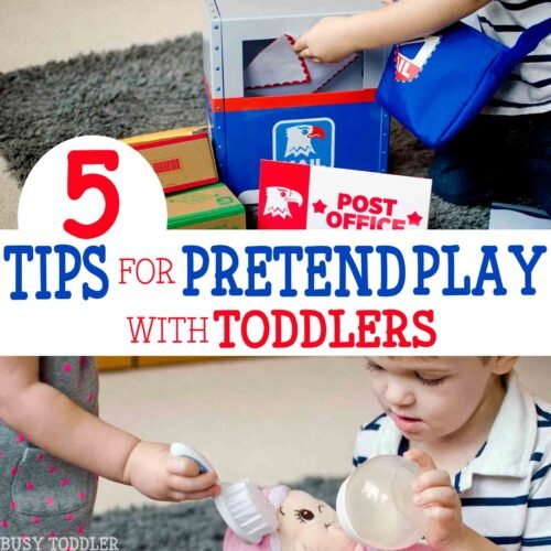 You've got to check out these 5 tips for pretend play with toddlers! You'll love these dramatic play tips!