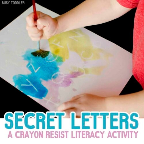 SECRET LETTERS: Build a fun, simple activity that toddlers and preschoolers will love! A literacy art activity perfect for rainy days. Enjoy this quick and easy activity!