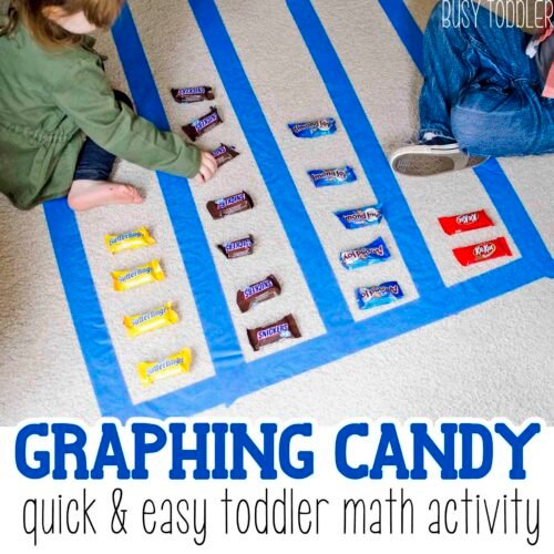 GRAPHING CANDY - A yummy math activity for toddlers and preschoolers; a great way to use Halloween candy; simple math activity; math with toddlers