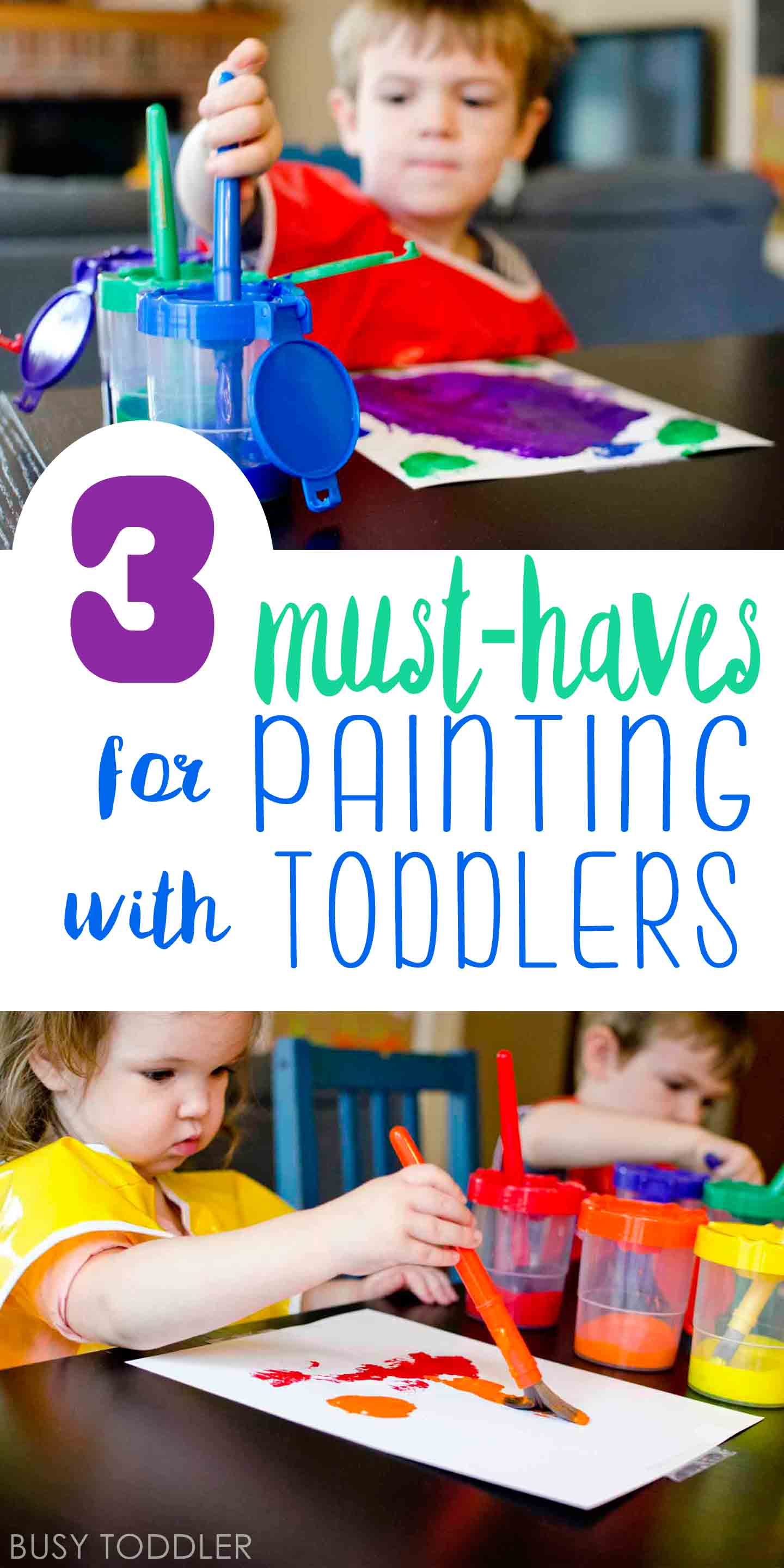 MUST-HAVES FOR PAINTING WITH TODDLERS: Check out these great ideas for keeping art time managable using products from Lakeshore. #ad.