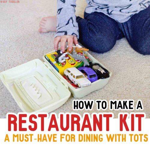 Make a restaurant kit for toddlers when dining out. Make going to a restaurant so much easier with this simple kit to keep them entertained.