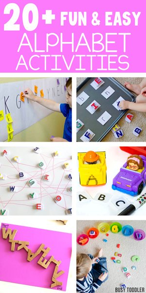 ALPHABET ACTIVITIES FOR KIDS: A great list of activities for kids to do that encourages playing and engaging with the alphabet. A great way to help kids learn the ABCs with these hands-on, no worksheet activities compiled by Busy Toddler