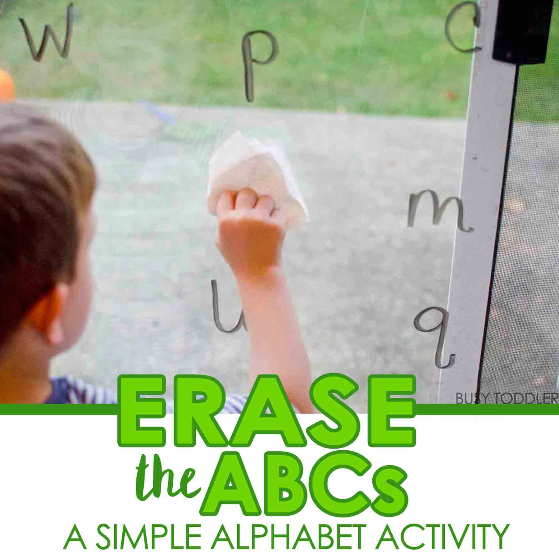 ERASE THE ALPHABET: A fun and simple alphabet activity that toddlers and preschoolers will love; quick and easy toddler activity; preschool alphabet activity; homeschool activity; easy alphabet activity