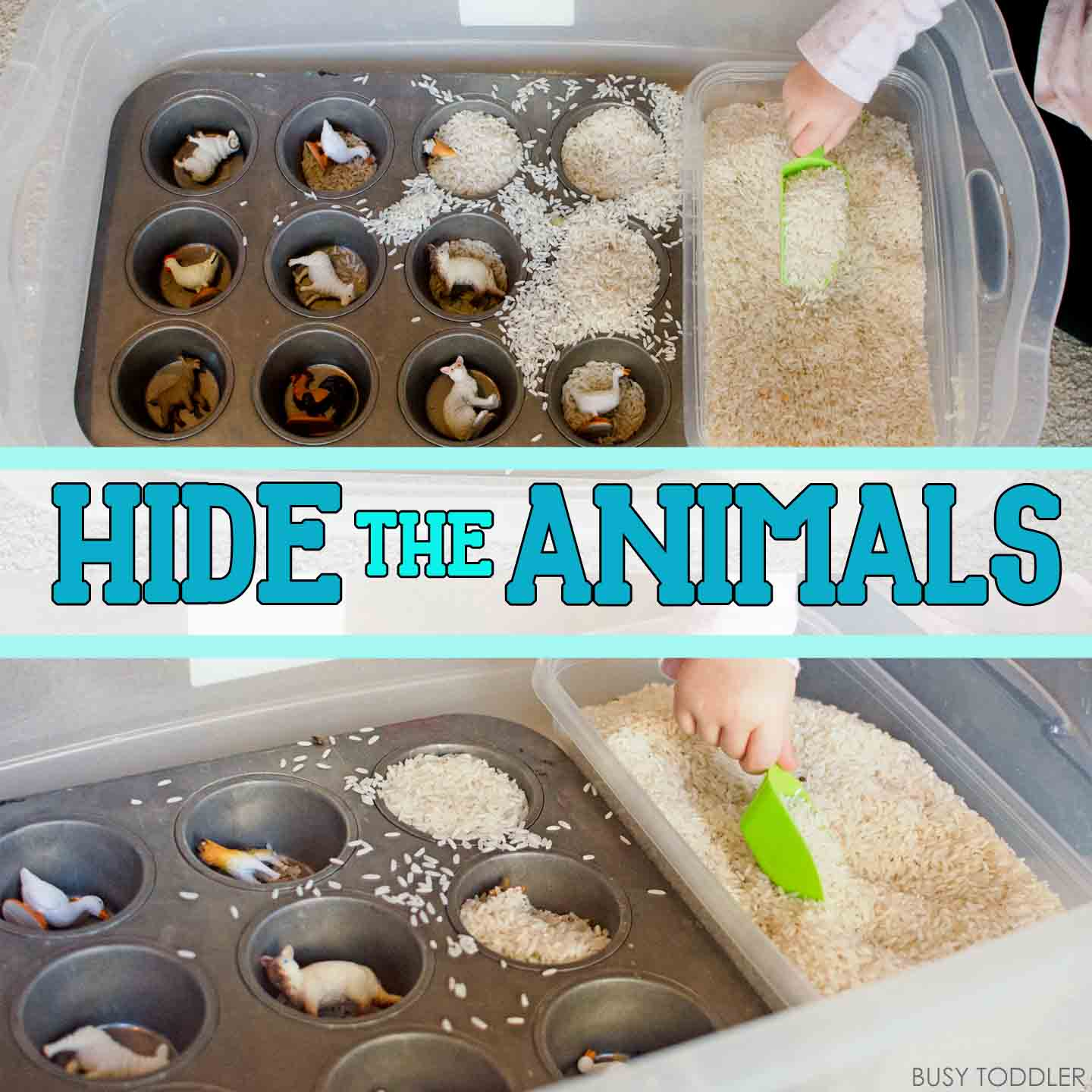 Hide the Animals: Quick Sensory Bin