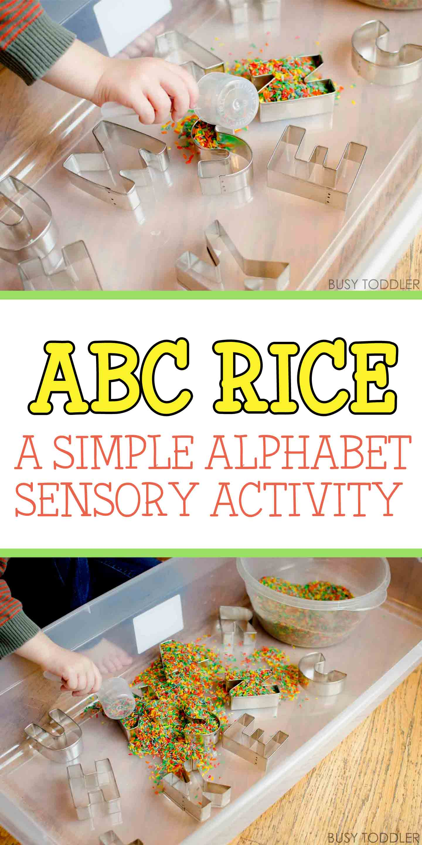 ABC RICE: A simple alphabet activity for toddlers and preschoolers; letter play activity; easy indoor activity; sensory alphabet activity; scooping and pouring activity; homeschooling