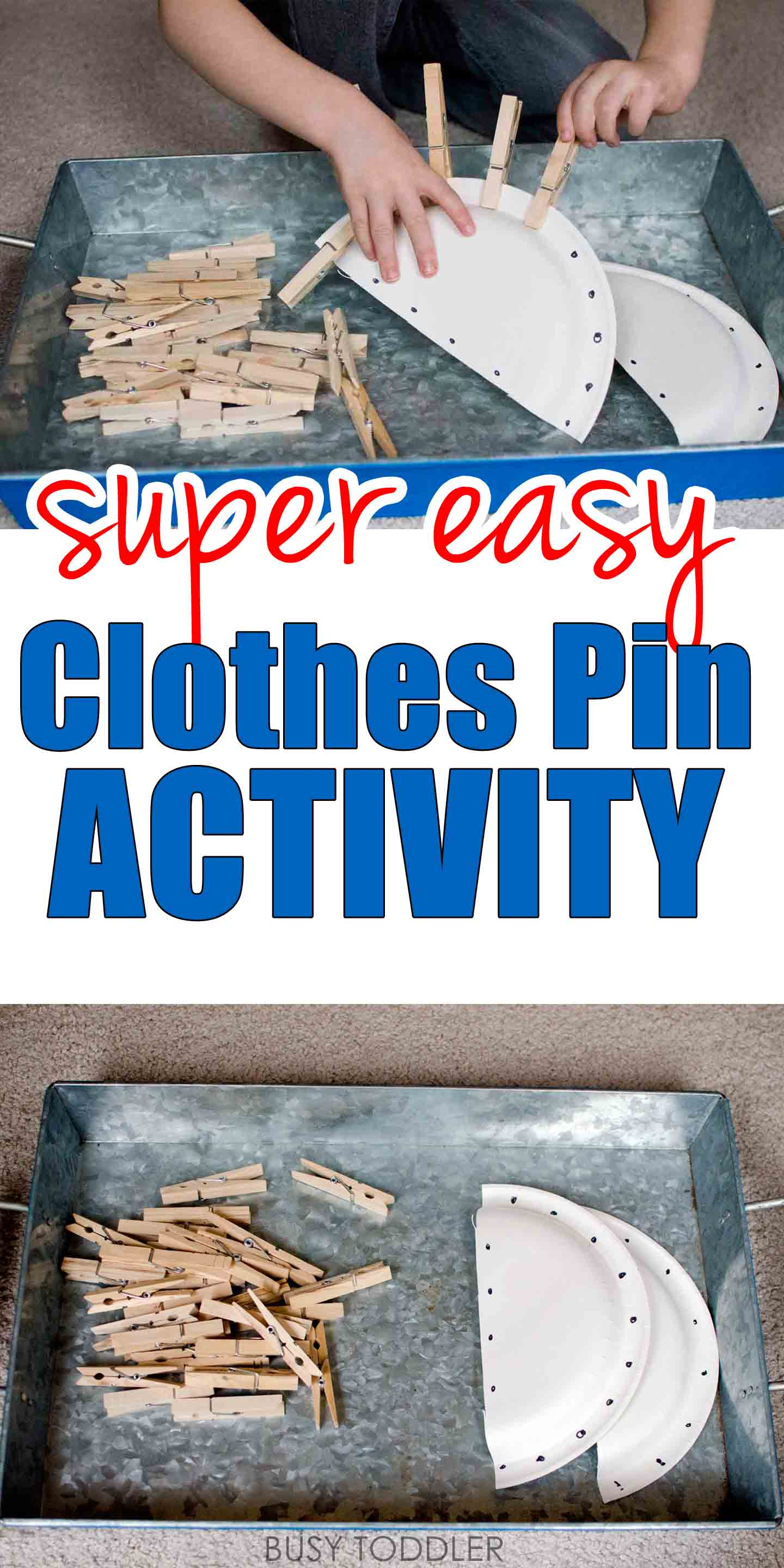 EASY CLOTHES PIN ACTIVITY: This super easy toddler activity is perfect for dinner time prep; an easy indoor activity; fun and easy toddler activity