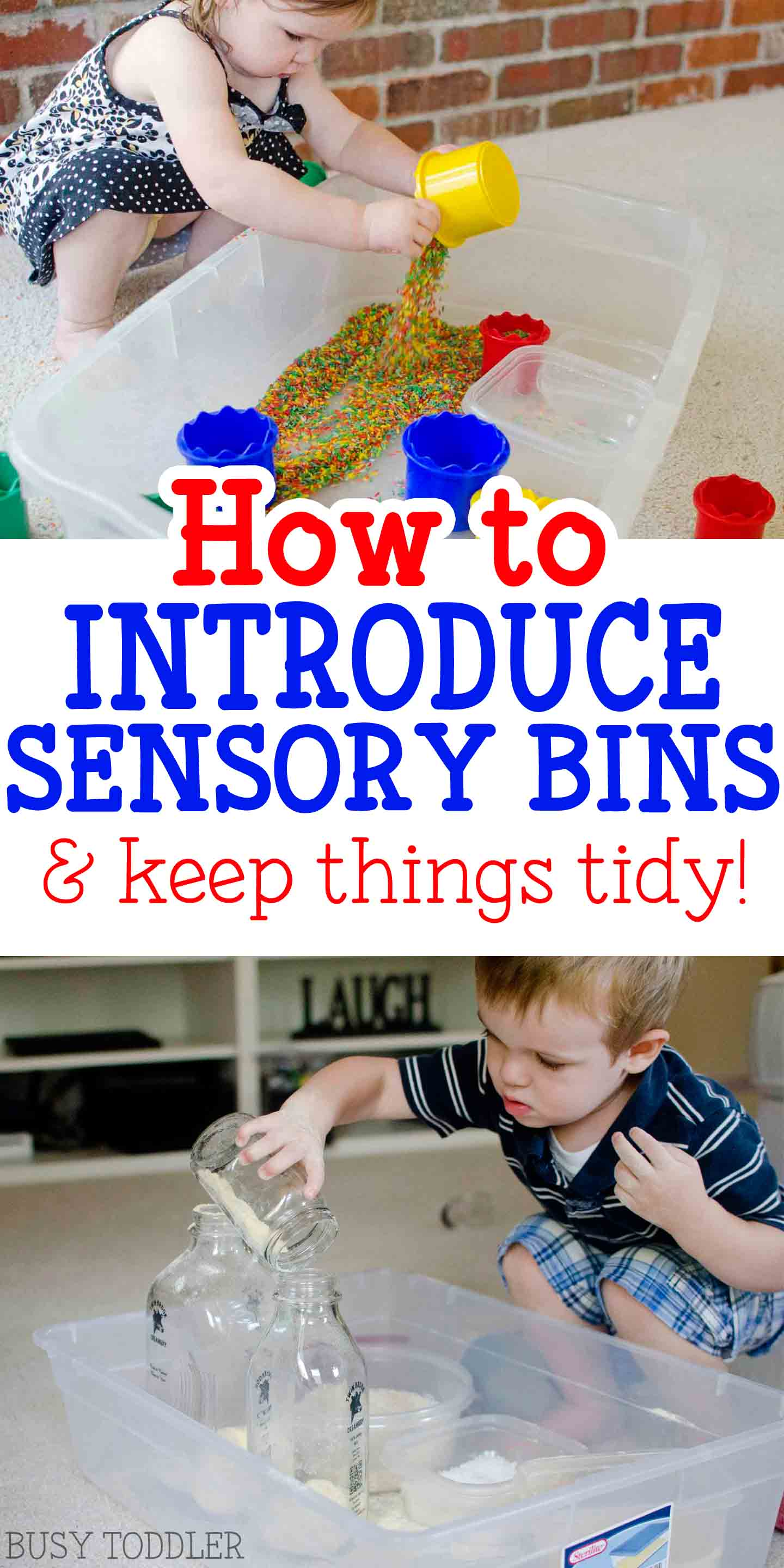 INTRODUCING SENSORY BINS TO TODDLERS: Ever wondered where to start with sensory bins? This article has so many helpful tips for teaching toddlers how to play with sensory bins.