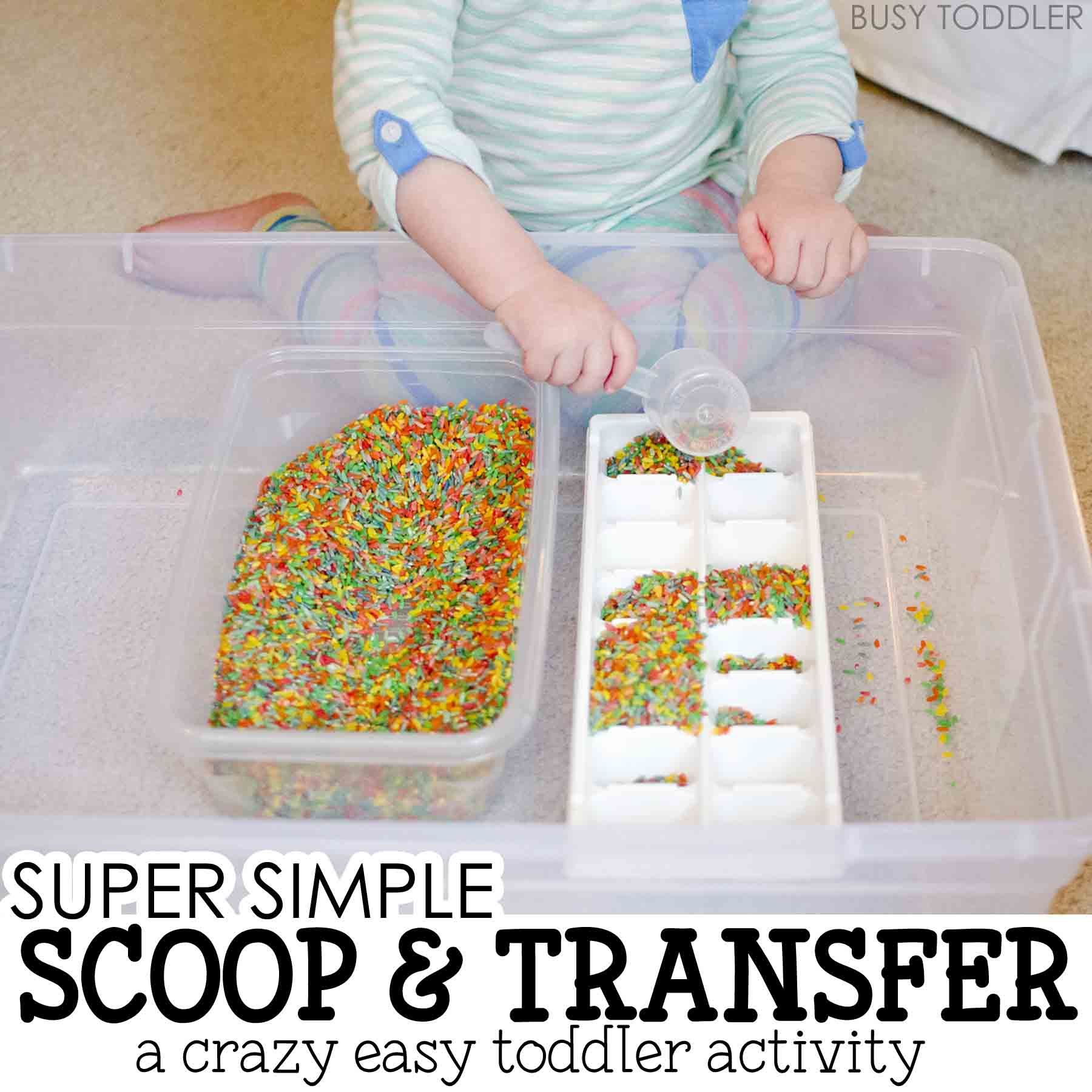 Check out this super simple rice scoop and transfer activity from Busy Toddler! This quick and easy toddler activity is perfect for life skills practice; easy toddler activity; lifeskills activity