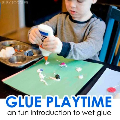 GLUE PLAYTIME: What a fun way to introduce toddlers to wet glue. This is a great quick and easy activity for toddlers and preschoolers; a life skills activity