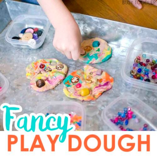 FANCY PLAY DOUGH: Check out this fun activity from Busy Toddler! A great indoor activity using mixed up play dough. Kids will love decorating and making their play dough fancy. A quick and easy toddler activity!